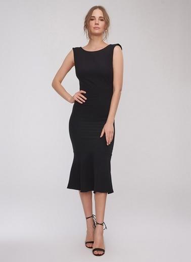 People By Fabrika Sırt Dekoltelii Elbise Siyah